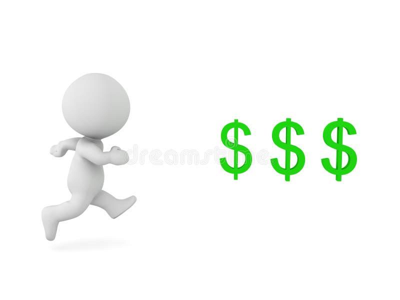 3D跑往美元的符号的字符 库存例证