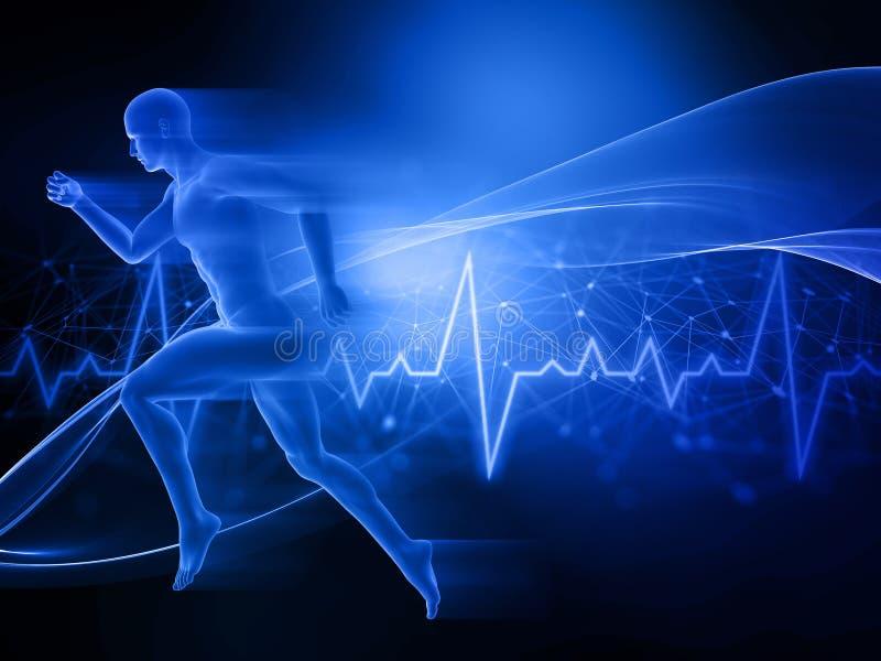 3D跑男性的图在抽象techno背景 向量例证