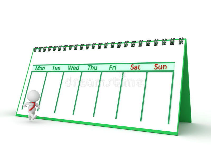 3D跑通过与日历的工作星期的字符 库存图片