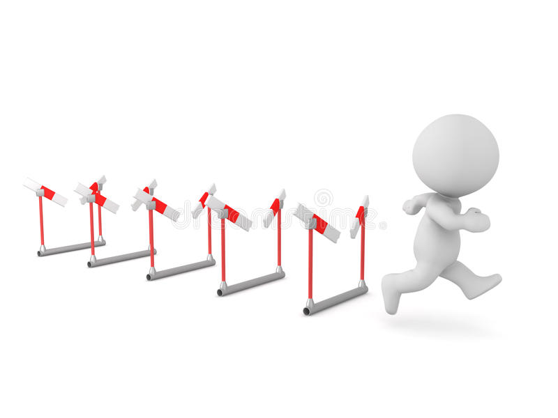 3D跑通过许多障碍的字符 向量例证