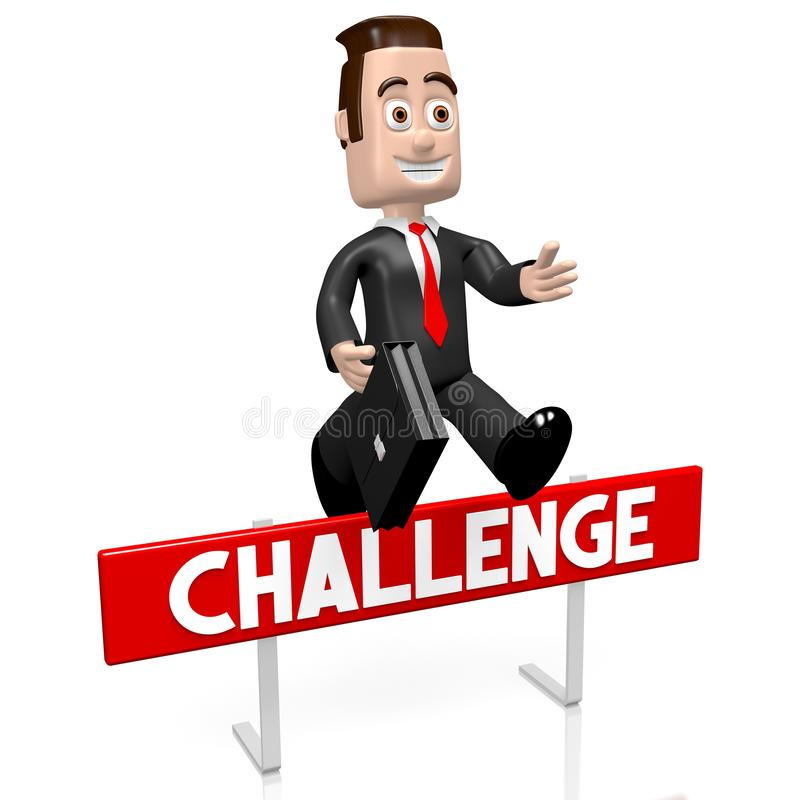 3D跳跃的商人-挑战概念 皇族释放例证
