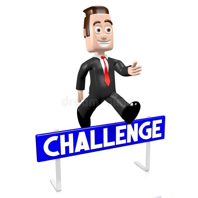 3D跳跃的商人-挑战概念 向量例证