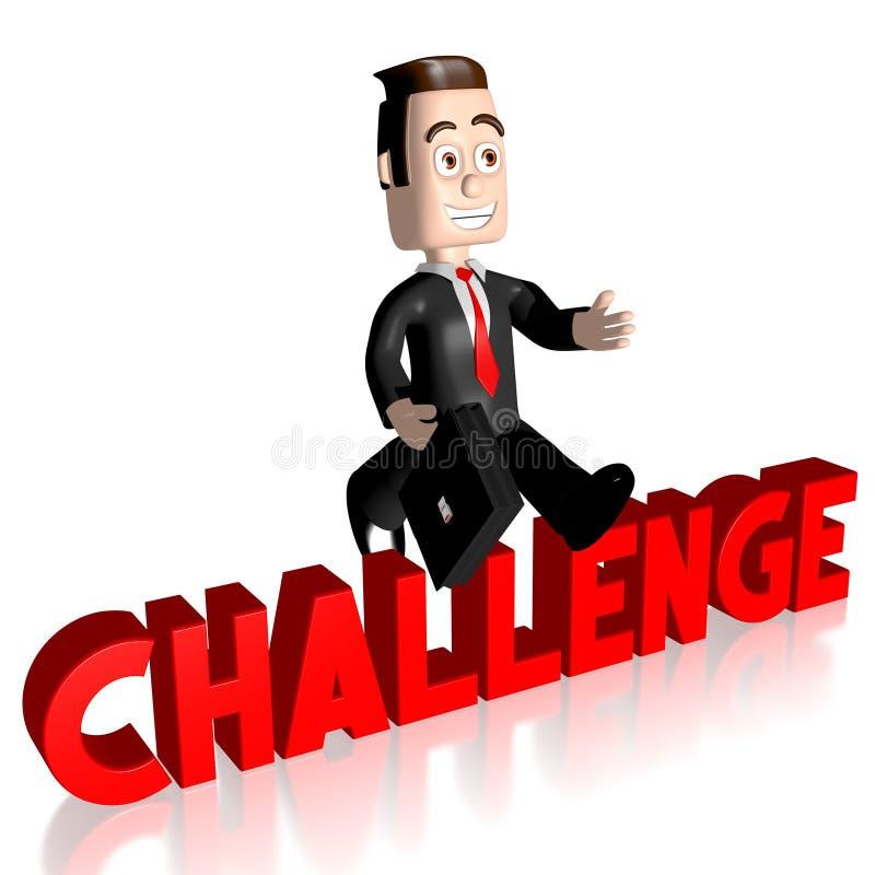 3D跳跃的商人-挑战概念 库存例证