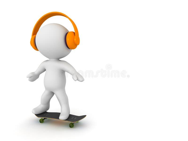 3D踩滑板和听耳机的字符 库存例证