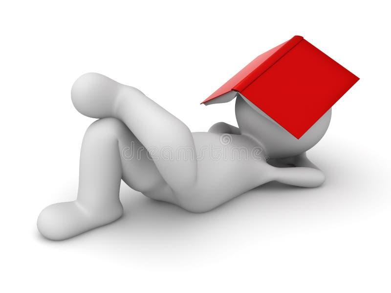 3d躺下与一本红色书的人盖他的面孔 皇族释放例证