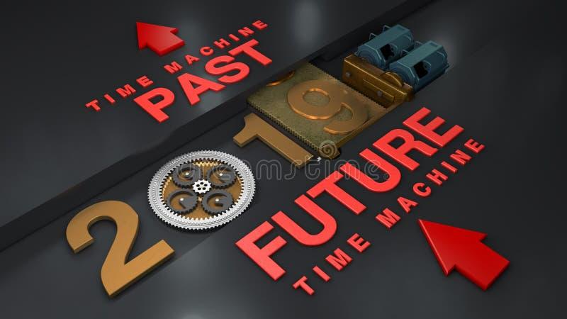 3D转动有齿轮的齿轮和行星并且移动日期2019年一台电动机的例证 a想法  皇族释放例证