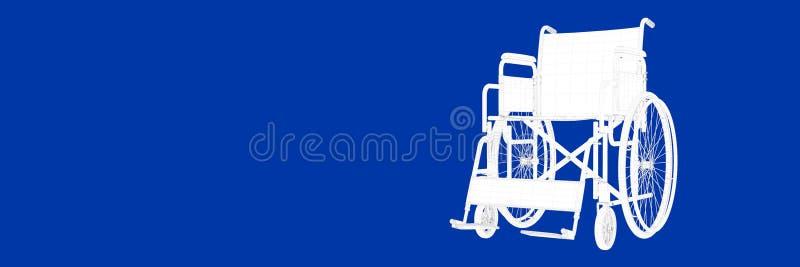 3d轮椅翻译在一张蓝色背景图纸的 向量例证