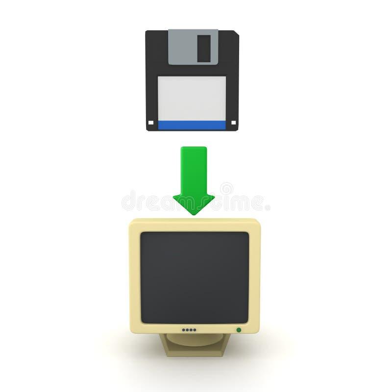 3D软盘转移的数据翻译对老计算机的 库存例证