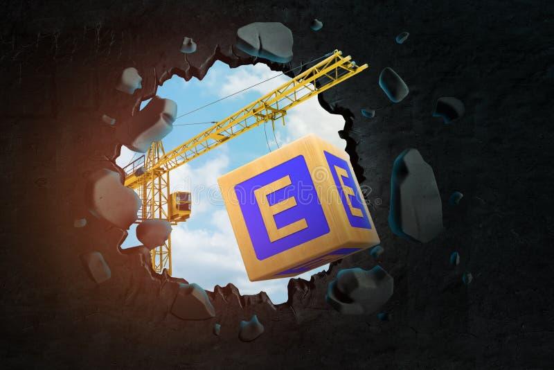 3d运载与信件E,在黑墙壁的猛击的大孔的卷扬起重机翻译大ABC块有被看见的天空蔚蓝的 向量例证
