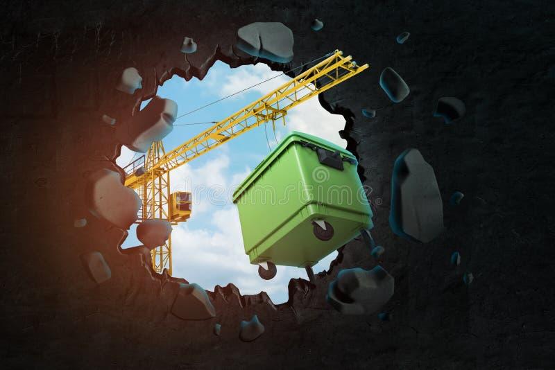3d运载打破在黑墙壁的孔有进行下去的天空蔚蓝的绿色垃圾箱的卷扬起重机翻译 皇族释放例证