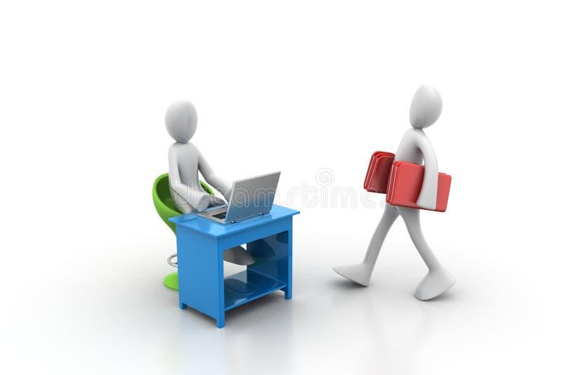 3d运载文件夹的人们在办公室 库存例证