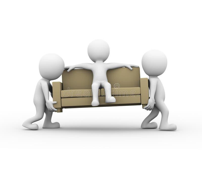 3d运载有人的人们一个沙发 向量例证