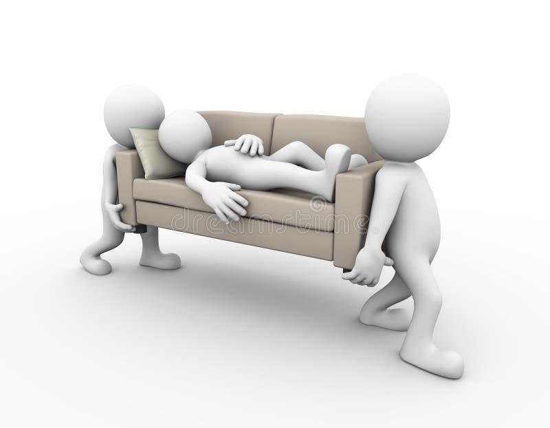 3d运载有睡觉的人的人们一个沙发 皇族释放例证