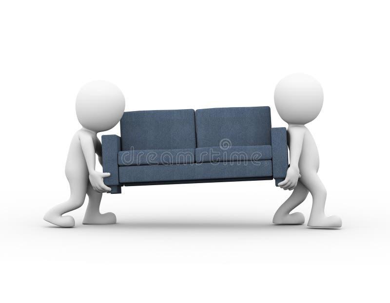3d运载沙发的人们 向量例证