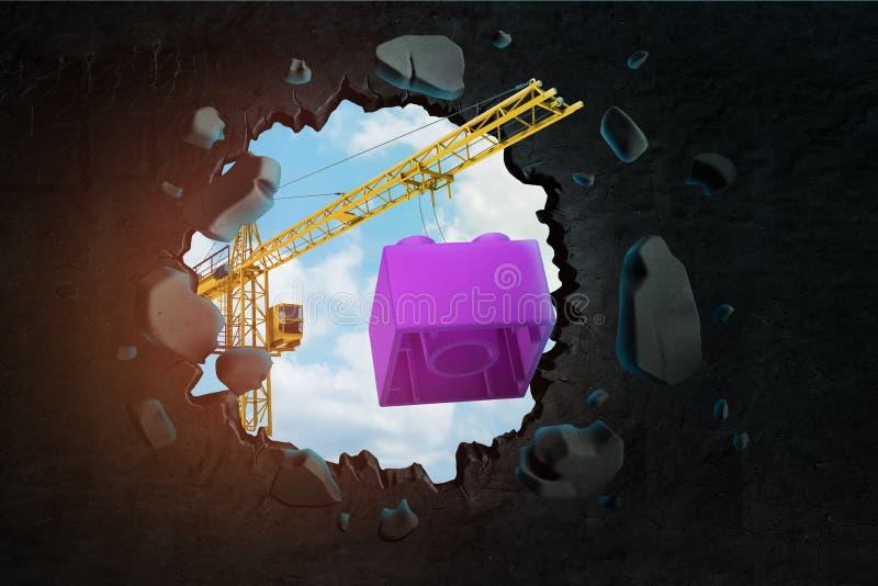 3d运载紫色玩具块和打破墙壁的卷扬起重机翻译留给孔进行下去的天空蔚蓝 向量例证