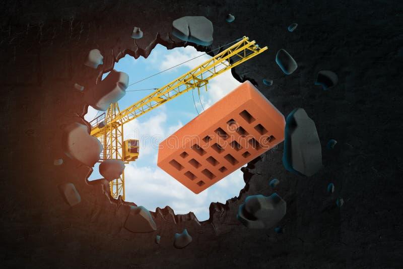 3d运载红色穿孔的砖和打破在黑墙壁的卷扬起重机翻译孔有进行下去的天空蔚蓝的 皇族释放例证