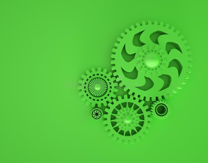 3d连结的钝齿轮的例证在绿色的 最小的概念3d回报 Copyspace 合作和配合的概念 皇族释放例证