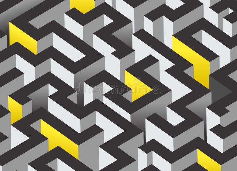 3D迷宫设计 皇族释放例证
