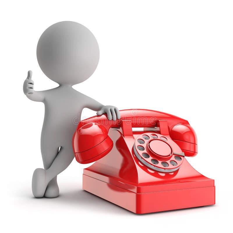 3d逗人喜爱的人民-站立与红色电话与我们联系概念 库存例证