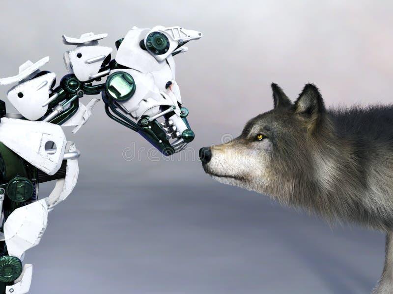 3D遇见狼的机器人狗的翻译 库存例证