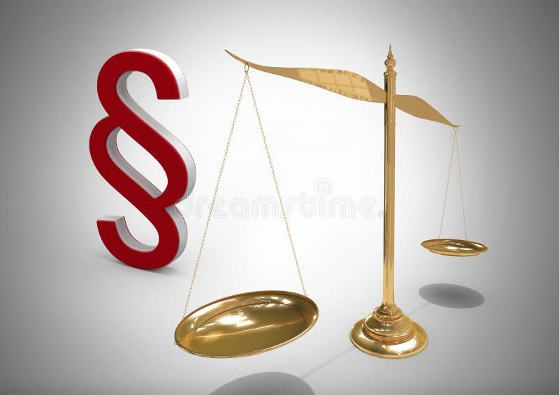 3D部分标志象和正义平衡标度 库存例证
