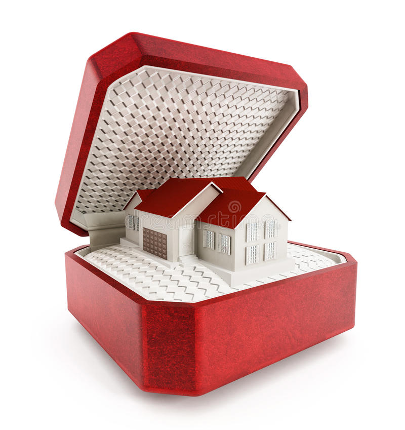 3d配件箱概念庄园房子例证新实际 免版税图库摄影