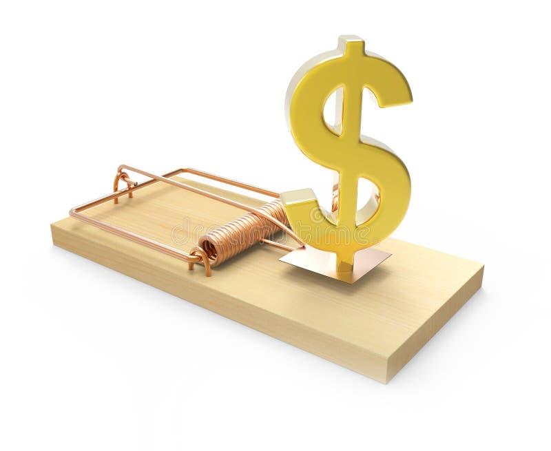 3d金在捕鼠器捉住的美元 向量例证