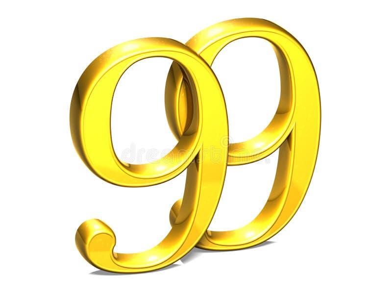3D金子九十九在白色背景 向量例证