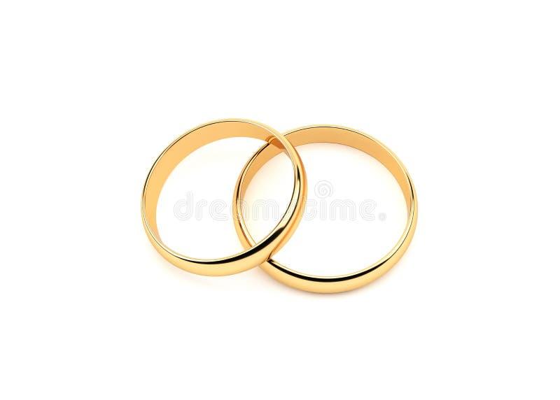 3d金子在白色隔绝的婚戒 皇族释放例证