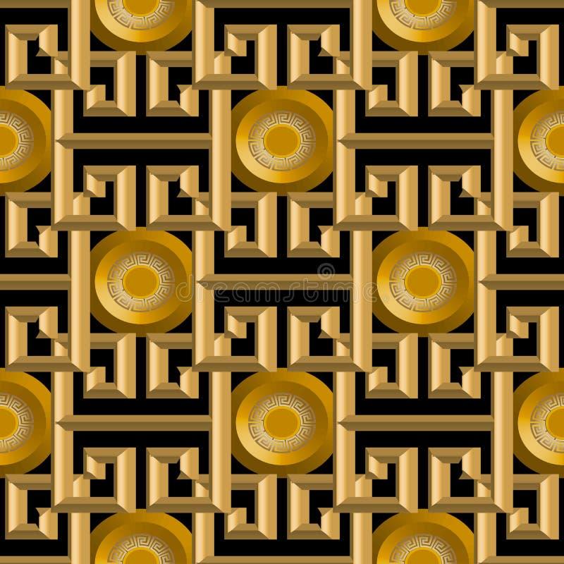 3d金子织地不很细希腊传染媒介无缝的样式 库存例证