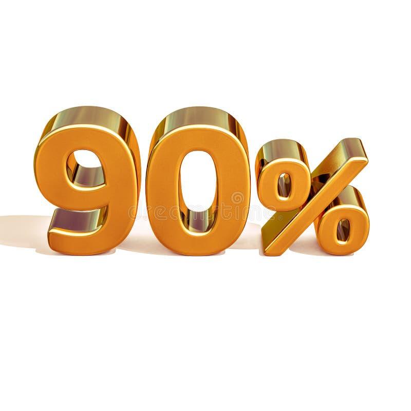 3d金子90百分之九十个折扣标志 皇族释放例证