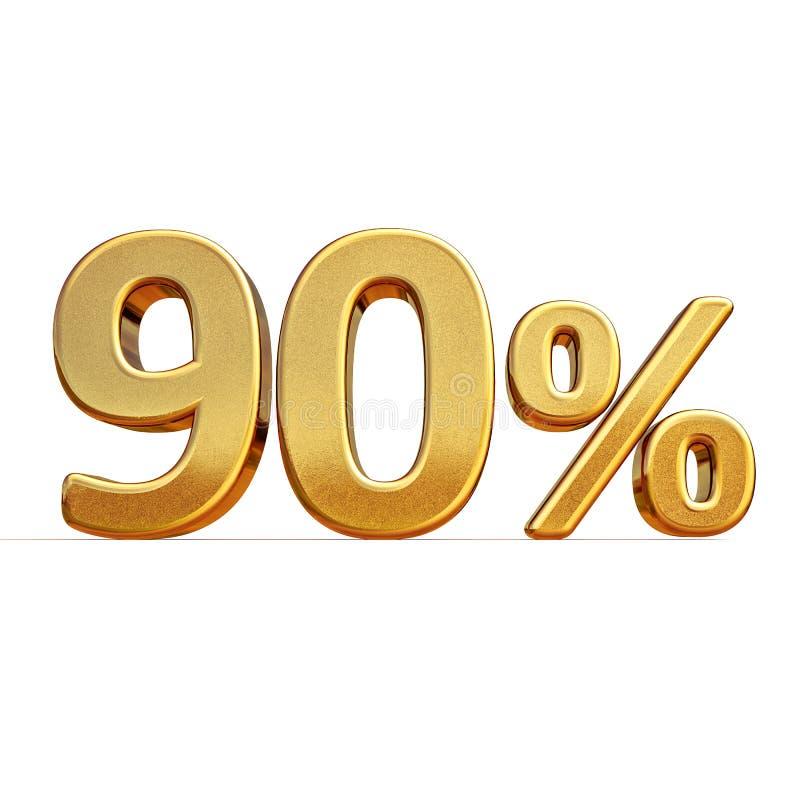 3d金子90百分之九十个折扣标志 库存例证