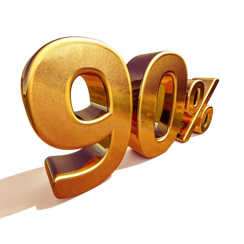 3d金子90百分之九十个折扣标志 向量例证
