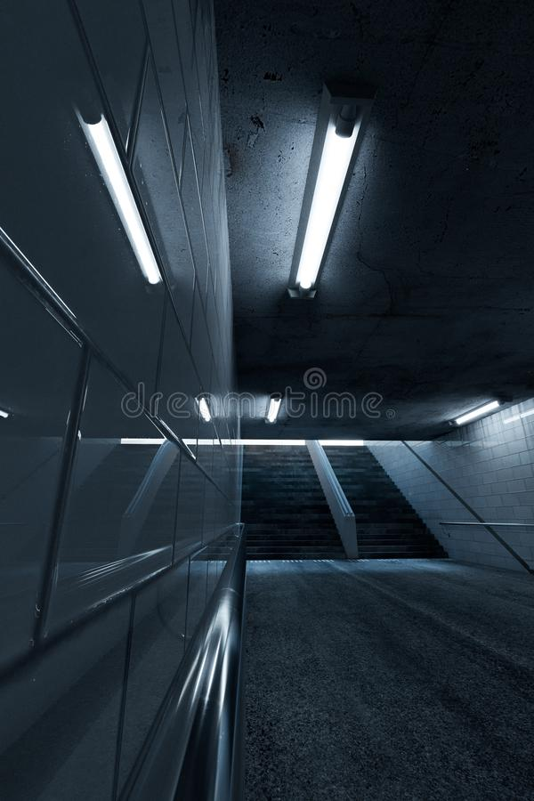 3d金属扶手栏杆翻译在一条地铁地下过道的有楼梯的在末端 皇族释放例证