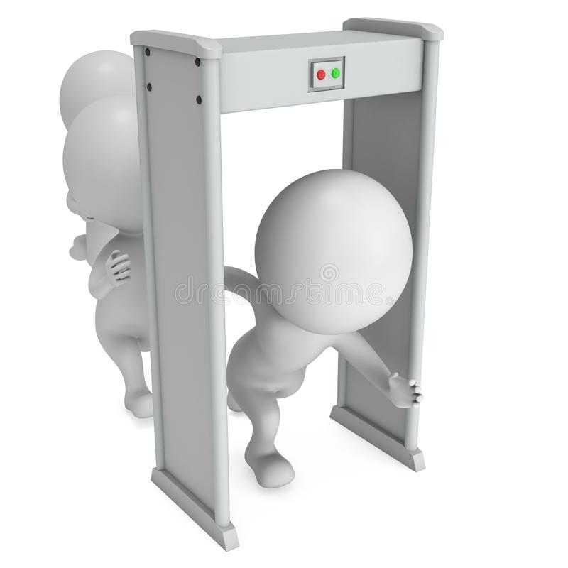 3D金属探测器扫描器和连续人白色的 皇族释放例证