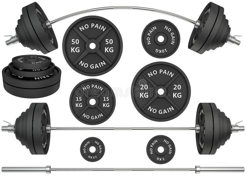 3D金属杠铃和重量的演播室射击在丝毫 库存例证