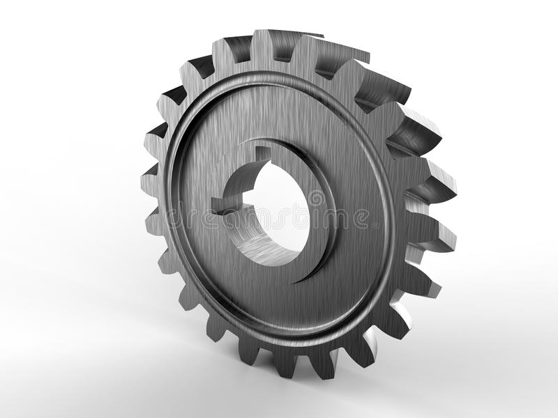 3D金属灰色齿轮 库存例证