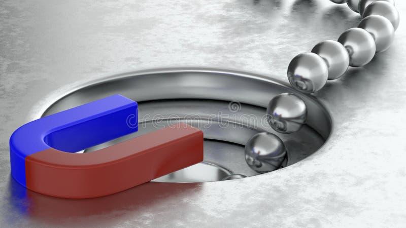 3D金属球翻译安排与磁铁和漏斗兑换率概念,3d例证 向量例证