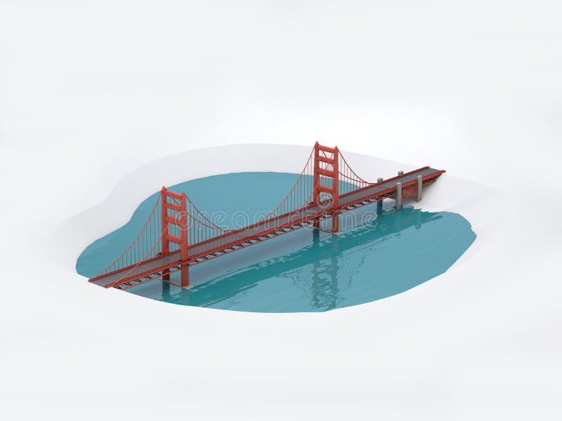 3D金门海峡桥梁旧金山3d回报 向量例证