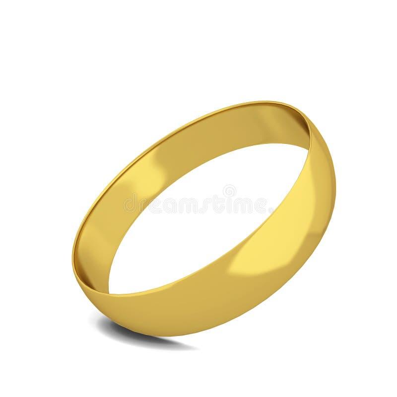 3d金黄做的环形婚姻 皇族释放例证
