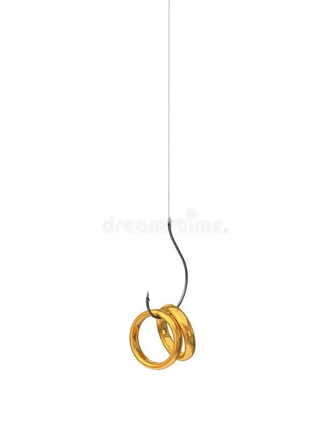 3d金黄圆环的例证在钓鱼钩的 皇族释放例证