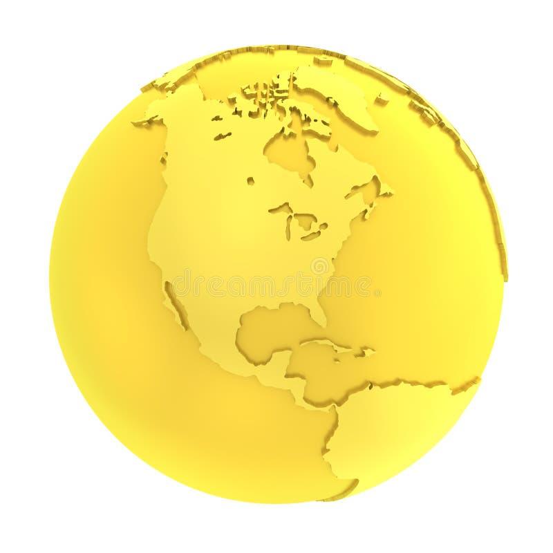 3D金黄地球纯净的金地球 库存例证