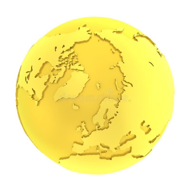 3D金黄地球纯净的金地球 向量例证