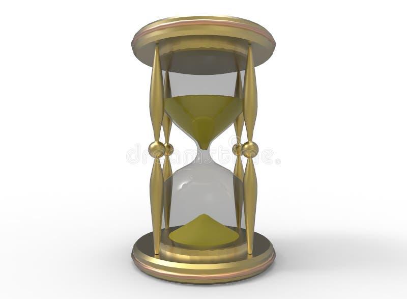 3d金黄沙子时钟的例证 向量例证