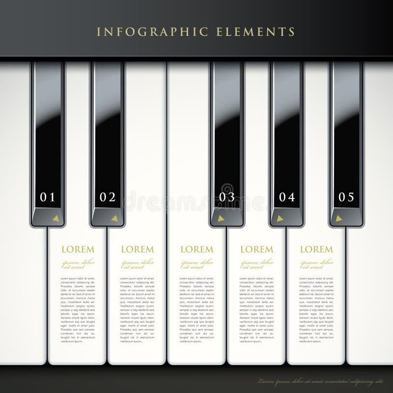 3d钢琴锁上infographic元素 皇族释放例证