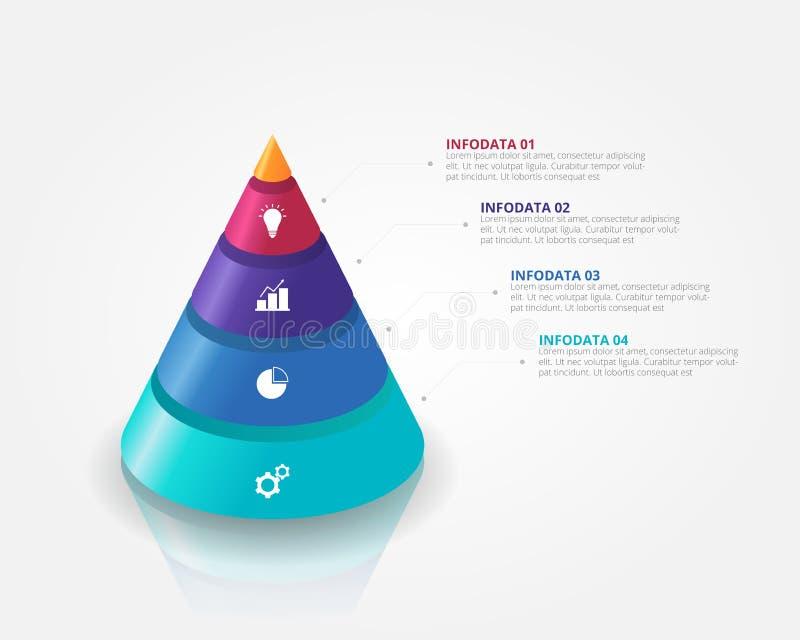 3D锥体金字塔事务的,教育,网络设计,横幅,小册子,飞行物Infographics模板 库存例证