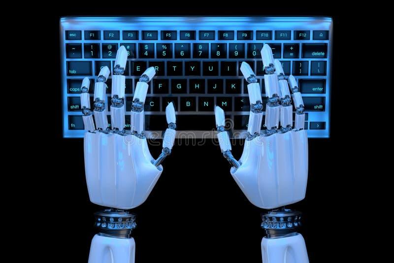 3d键入在键盘,键盘的机器人手 使用计算机的机器人手靠机械装置维持生命的人 E 向量例证