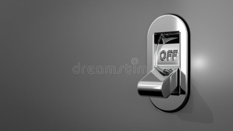 3D镀铬物灯开关的例证/翻译在断路位置的在灰色墙壁上 皇族释放例证