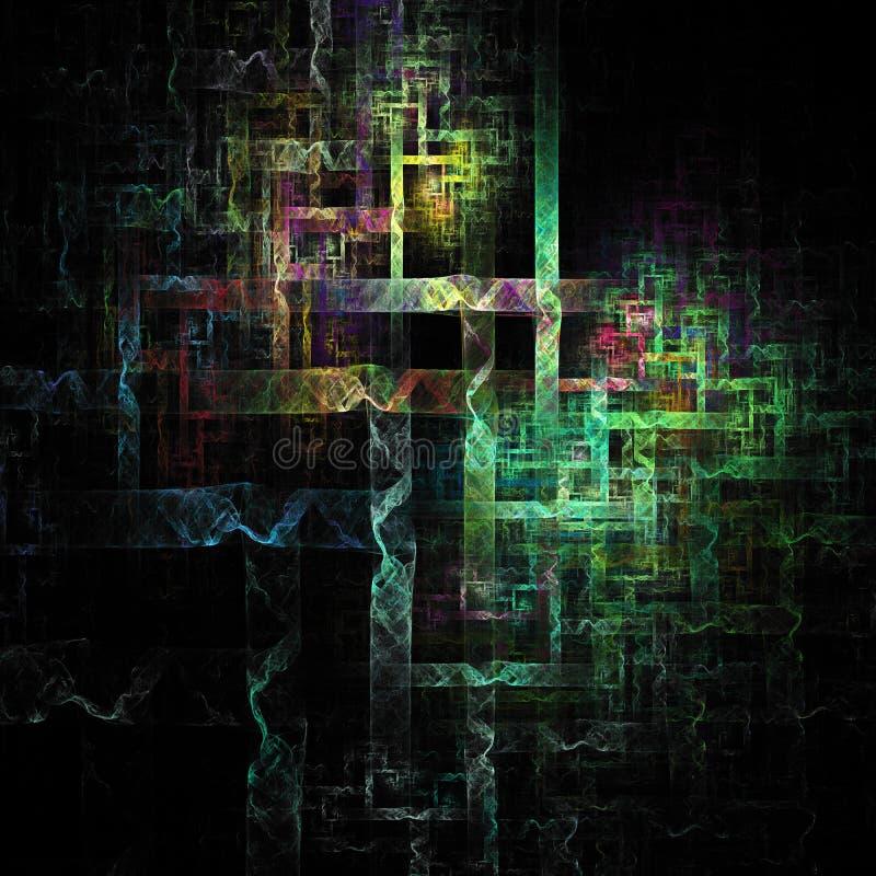 3D阐明了抽象线加热发光曲线未来派数字艺术 向量例证