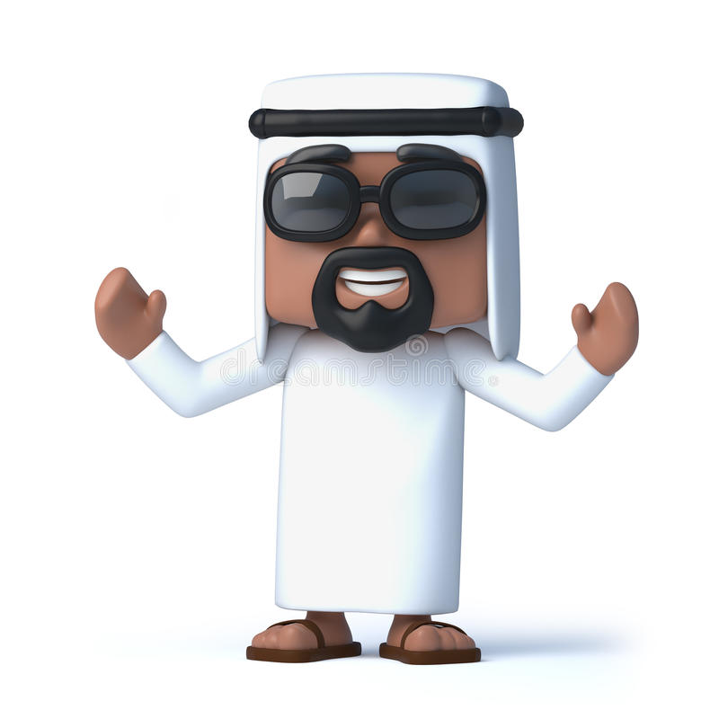 3d阿拉伯人欢呼 库存例证